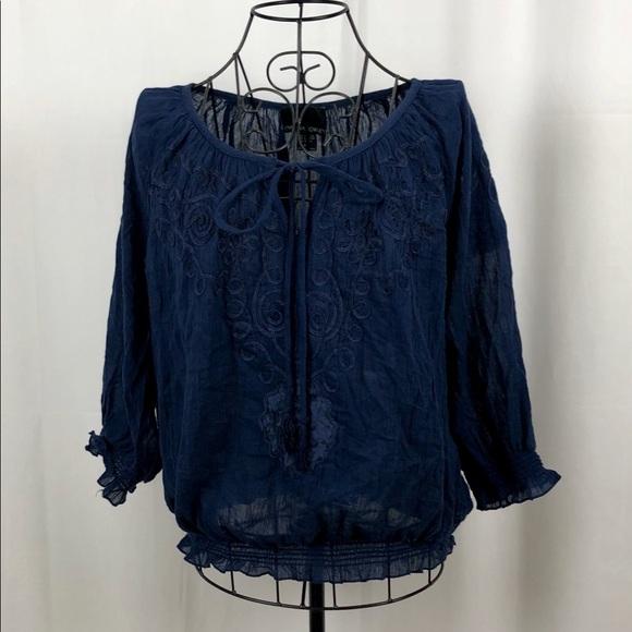 Cynthia Rowley Tops - Cynthia Rowley sheer cotton peasant blouse M